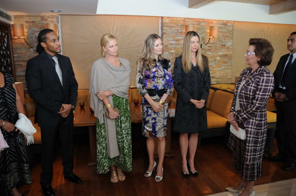db Media client, Michael Cory Davis with db Media-booked celebrities Mira Sorvino and Charlize Theron, along with First Lady of Egypt, Suzanne Mubarak
